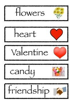 Valentine Day Words Free for Word Work or Writing!