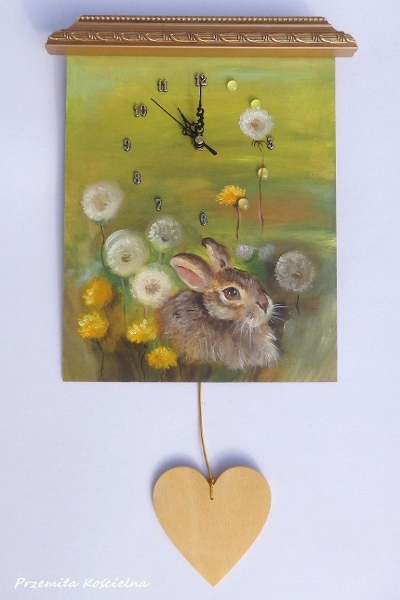 RABBIT PAINTED CLOCK Spring Hare Wildlife by CanisArtStudio #rabbit #animal #wildlife #clock #painting #canisartstudio
