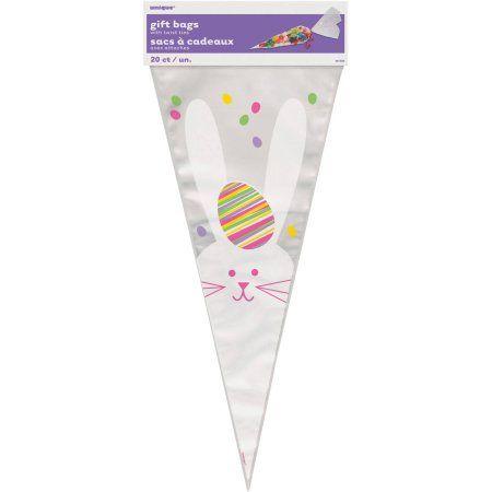 Easter Bunny Cone Cellophane Bags, 20-Count, Multicolor