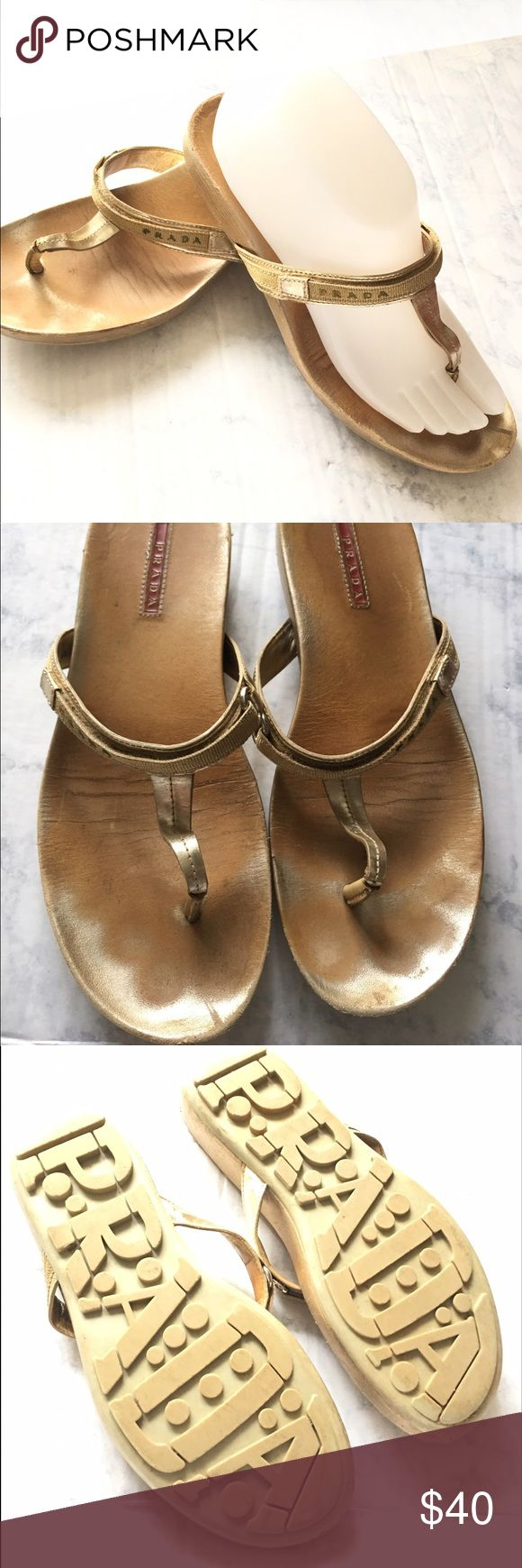 Gold Prada Flip Flops size 8.5 Good overall condition, all fasteners in tack. Plenty of life left in them. Prada Shoes Sandals