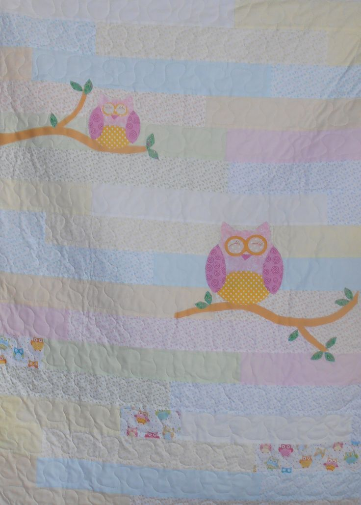 Appliqued Owl cot quilt. Sold