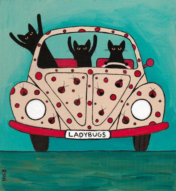The Ladybugs Road Trip Original Cat Folk Art Painting by KilkennycatArt