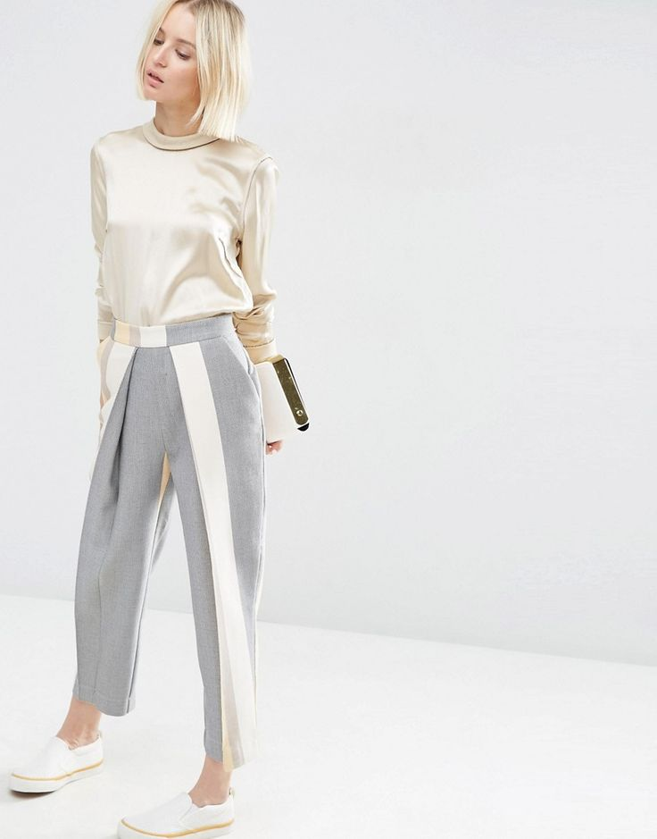 Image 1 of ASOS WHITE Pleat Detail Pants In Stripe