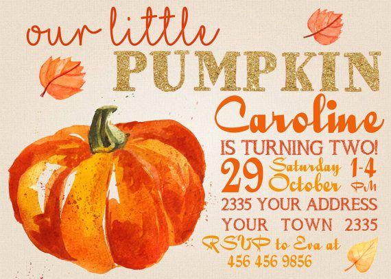 Pumpkin Invitation. Pumpkin First Birthday Invitation. Fall Birthday Invitation. Pink and Gold Invitation.Harvest Birthday Party Invitation.
