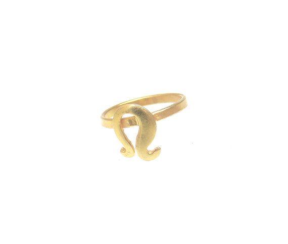 Leo Ring  Zodiac Sign Ring  Minimal Zodiac Midi by profoundgarden
