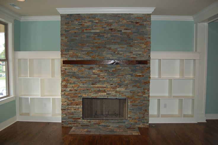 Ledge Stone Fireplace With Built Ins Interior Ideas