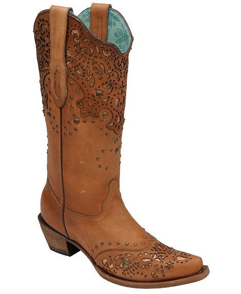 Corral Studded Glitter Inlay Cowgirl Boots - Snip Toe