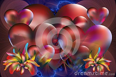 Lots of hearts and colorful plants on a blue-red fractal background for different type of supports.