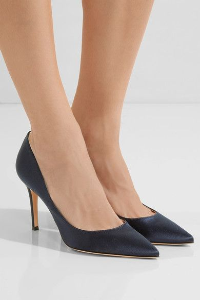 Heel measures approximately 85mm/ 3.5 inches Navy satin Slip on Made in Italy
