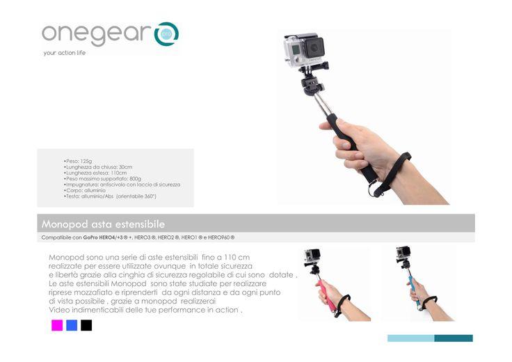 Gopro monopiede in alluminio per riprese a distanza e Selfye