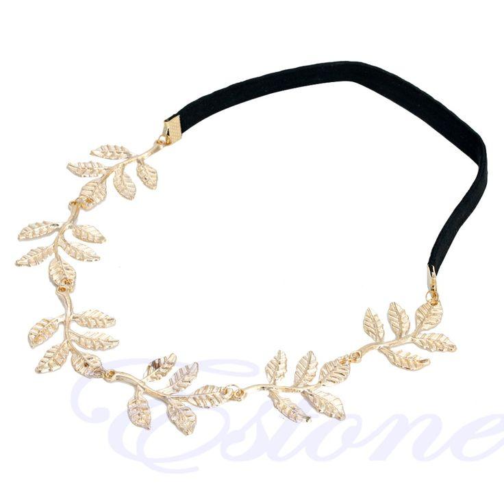 Greek Goddess Peace Angel Golden Olive Leaves Elastic Hair Band Headband Vintage
