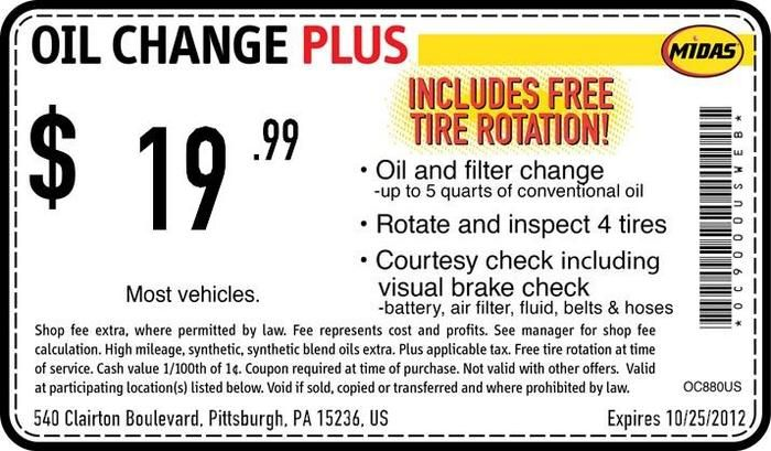 Midas Oil Change + Tire Rotation $ Coupon On-line by Zip Oct 7, I think this is the cheapest going rate for an oil change because it's $5 to dispose of your oil.