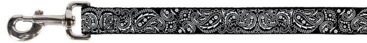 White Paisley Collage Pattern on Black Fun Animal Pet Dog Cat Leash