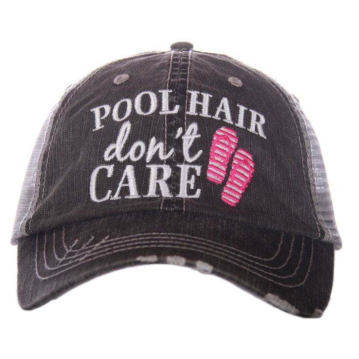 "HAT - BASEBALL TRUCKER HAT - ""POOL HAIR DON'T CARE"" PINK FLIP FLOPS"