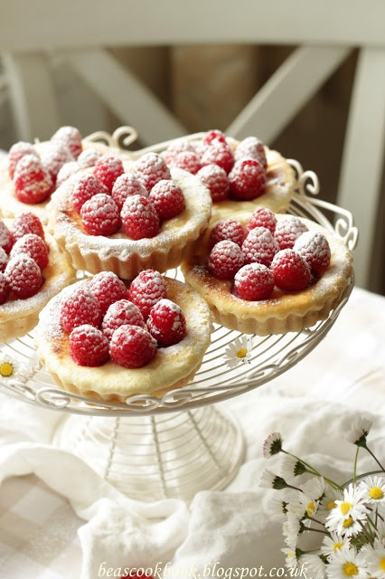 Baked Mini Cheesecakes with Raspberries. Nice presentation.