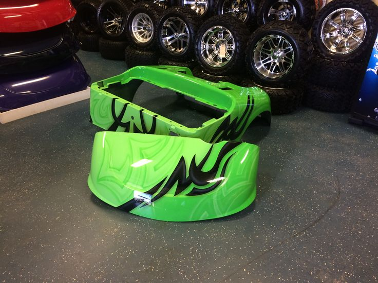 Lime Green Amp Black Custom Painted Golf Cart Body Custom