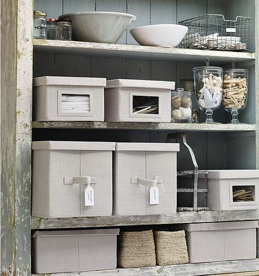 Laundry organization via The White Company. Liking the large glass jars. Would look lovely filled with French Soaps--- even in Bathroom.