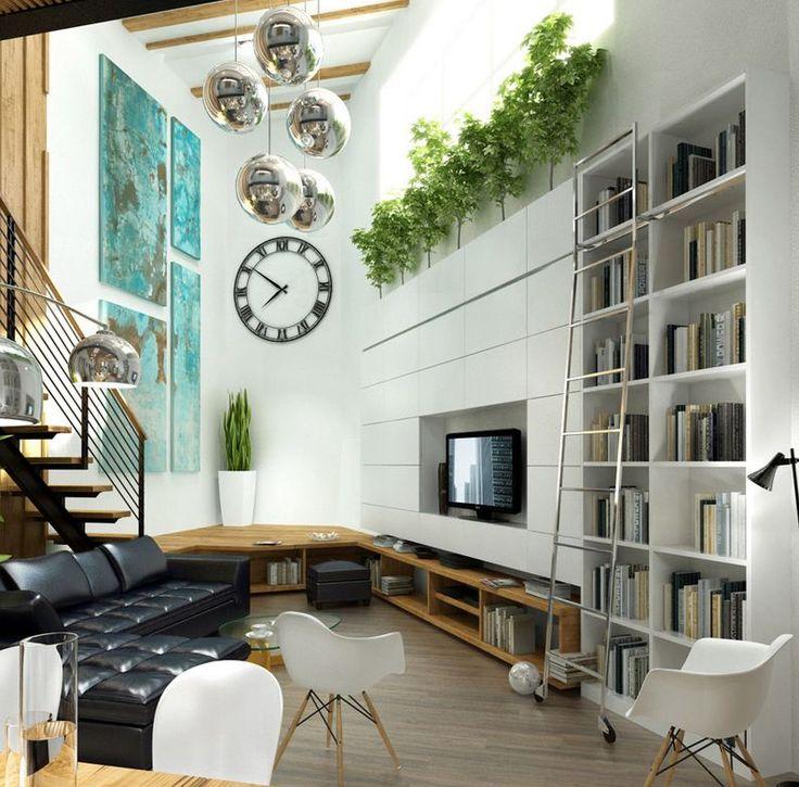 Een kamer waar in geleefd kan worden: boeken, televisie. De meubels ogen alleen niet zo comfortabel.