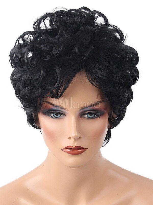Black Afro Wig Layered Barrel Curls Short Women Human Hair Wig Barrel Curls Wig Hairstyles Human Hair Wigs