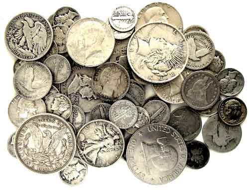 We used REAL Silver coins: dollars, half-dollars, quarters, dimes, nickles - sometimes pennies