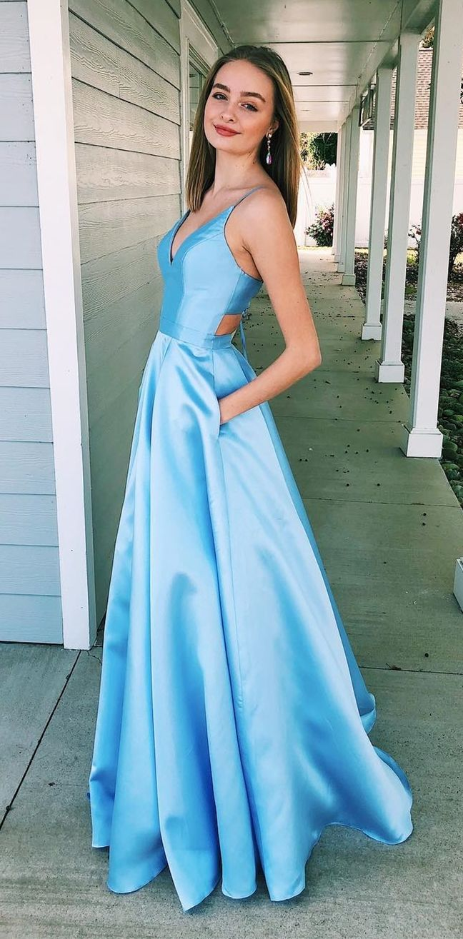 ad. cheap blue satin long prom dresses for teens, …