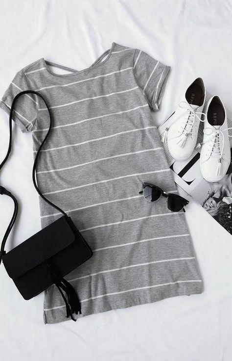 Billabong Down Time Grey Striped Shirt Dress