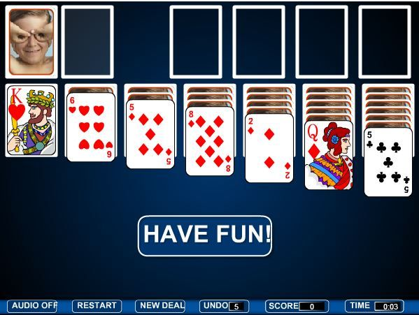 Play Solitaire with silly card pictures!