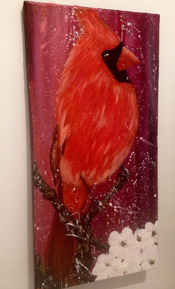 Red Cardinal 2, oil on canvas, 60x40cm, painting by Lucie Nguyen #painting #oil #bird #canvas #cardinal