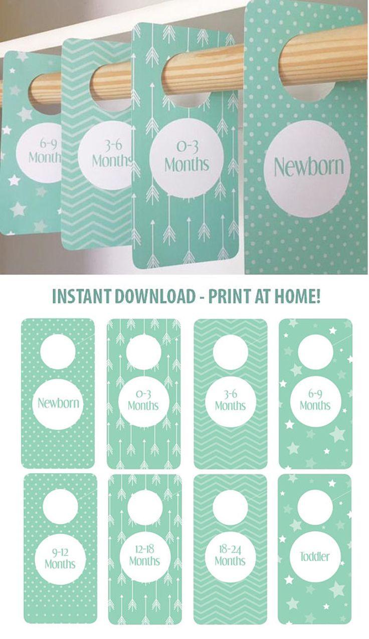 PRINTABLE - Sea foam Mint Nursery - Closet Dividers - Baby Room - Nursery Decor - Nursery Organization - Baby Shower Gift - Gender Neutral #aff