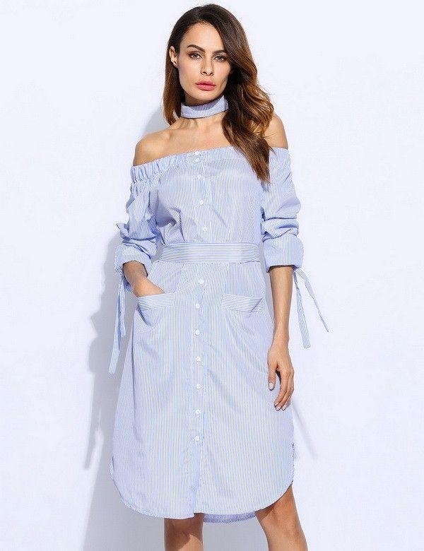 Spring Casual Women Dress Off-the-Shoulder Blue Stripes Dress High Waist Autumn Dress 2017 New m22