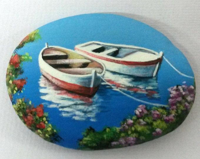 Painted stone landscape with two fishing boats! Is Painted with high quality Acrylic paints and finished with Gloss varnish protection.