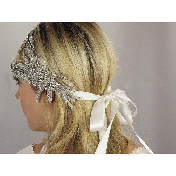 Deco Bridal Cap Beaded Ribbon Tie by EricaElizabethDesign on Etsy, $245.00