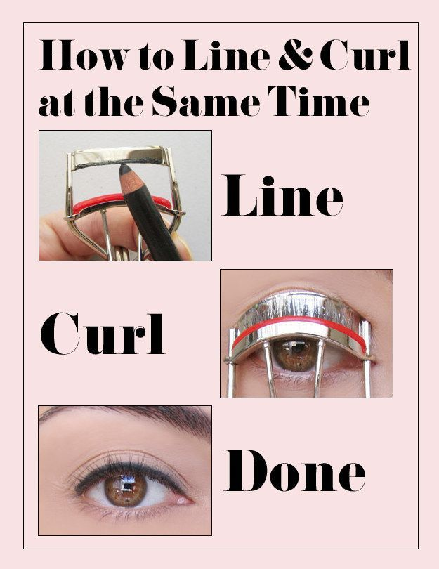 Use your lash curler to get the perfect eyeliner sitch. | 47 Lazy-Girl Beauty Hacks Everyone Should Know