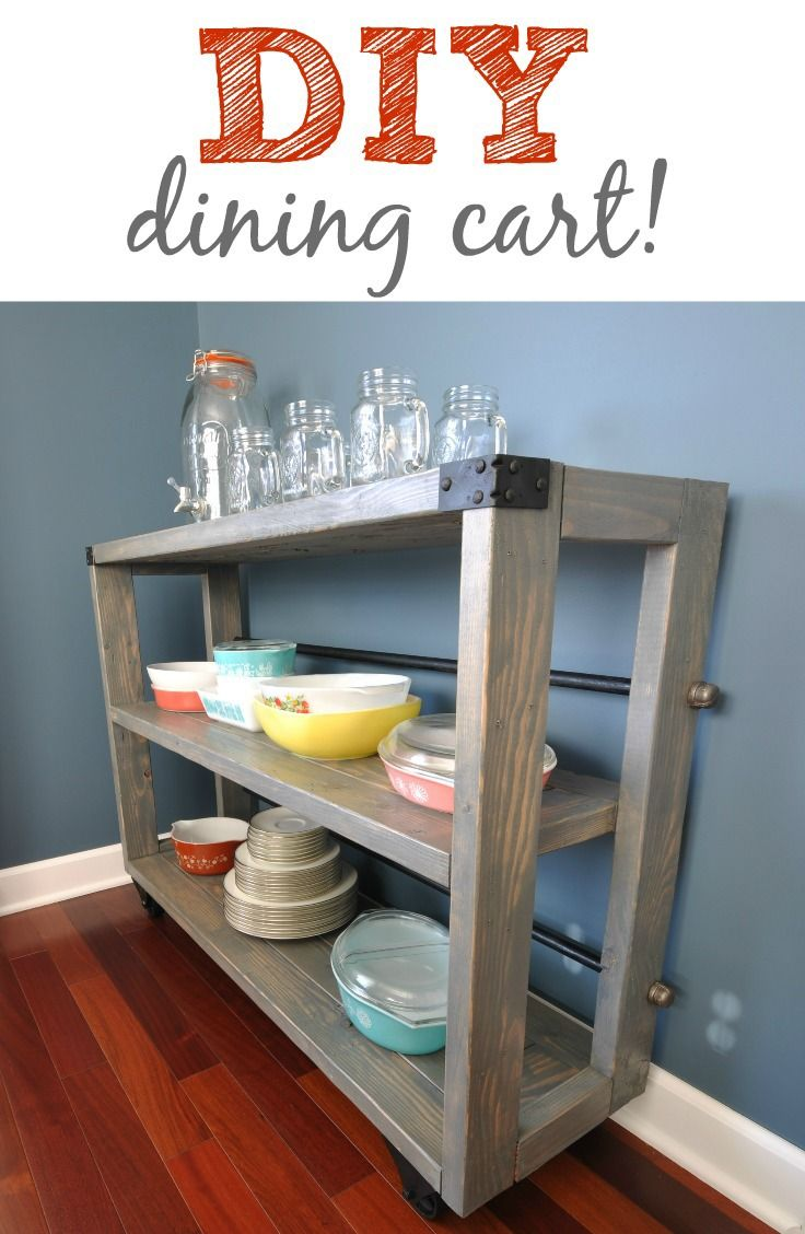 DIY dining cart tutorial!  This would also make a great bookcase.  I love the industrial look!