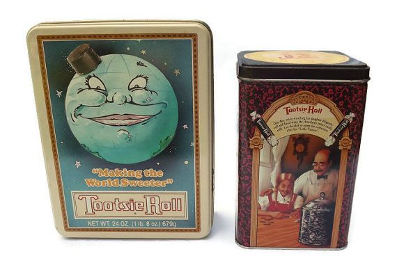 Tootsie Roll Tins, Set of 2, Collectible, Country Storage or Display, Limited Edition, Candy Box