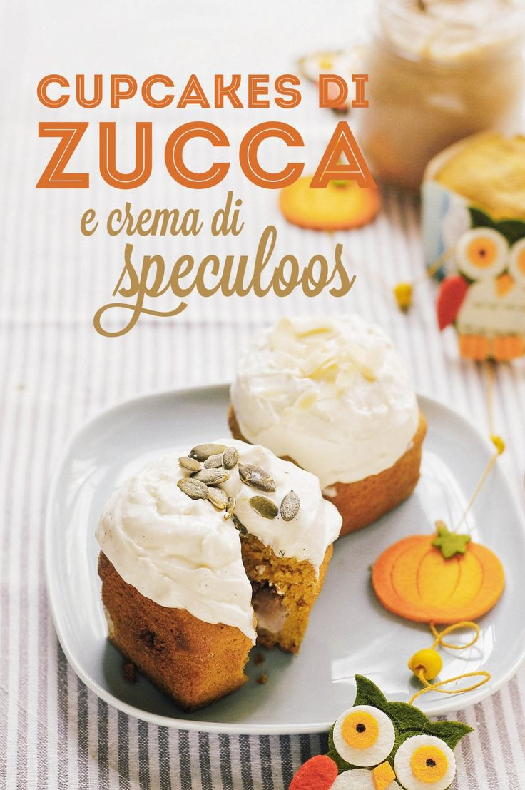 Cupcakes di zucca con crema di speculoos // Pumpkin cupcakes with speculoos cream filling