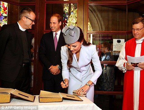 Rev Justin Moffatt, rector of St Phillip's York St, the country's oldest church, presented the couple with the First Fleet Bible, to which they added their signatures