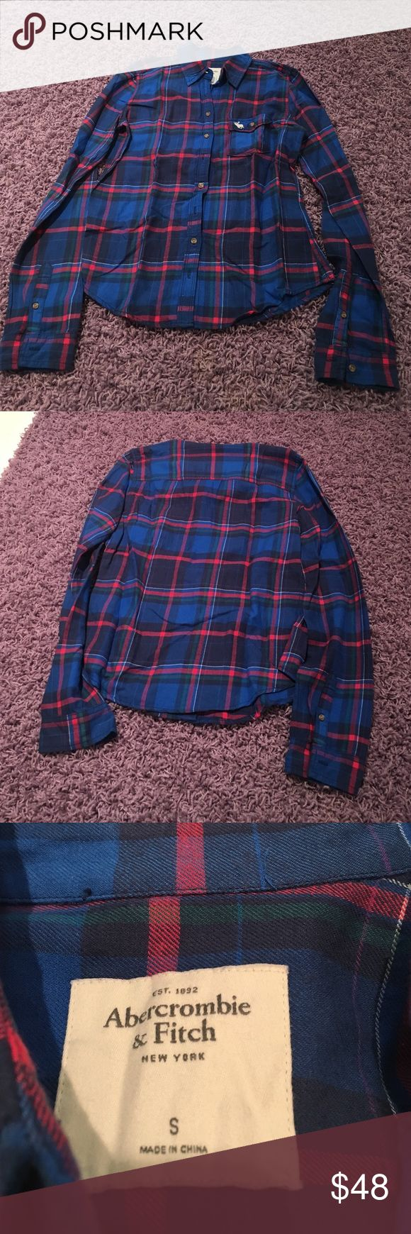 Plaid shirt Women's plaid blue and red top. In great condition. Never worn. Abercrombie & Fitch Tops Button Down Shirts