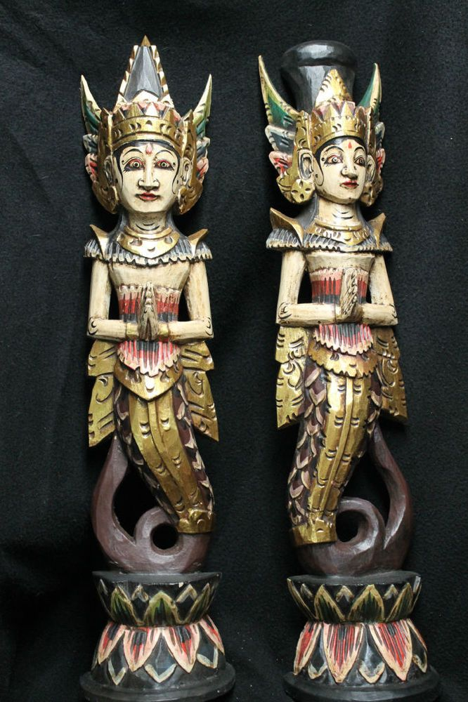 Balinese Mermaid Statue~Dewi Shinta Goddess~Rama carved wood Bali wall art Set 2