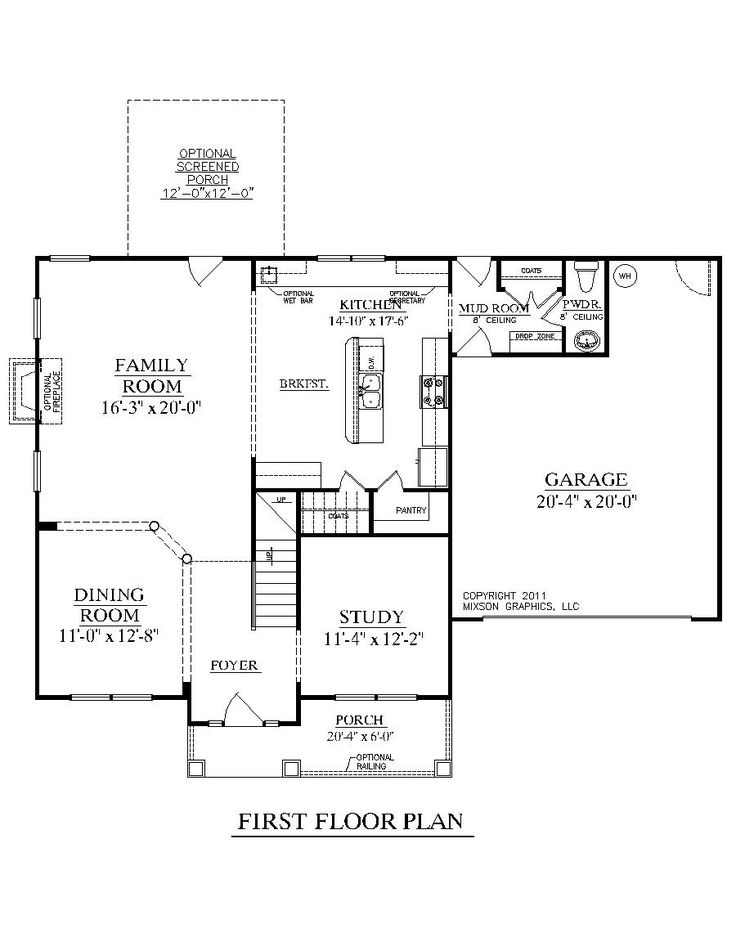 House plan 2261 a darlington a first floor 2261 square for 1 story house plans with bonus room