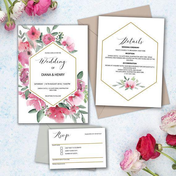 Wedding Invitation Set Floral Invitation Bundle Printable Invitation Template Rustic Floral Invitation Wedding Invitation Pdf Wedding Invitation Inspiration