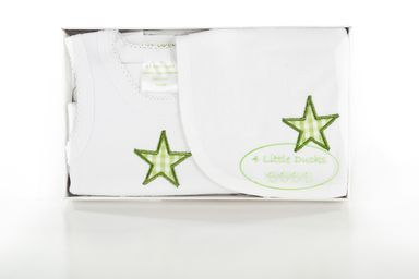 Newborn Baby Gift Set. A singlet and bib set with green star. Available online at Baby Presents. www.babypresents.net.au