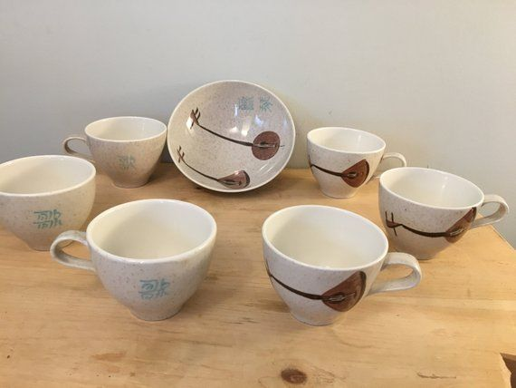 Vintage Mid Century Red Wing Pottery Lute Song Six 6 Tea Cups And One 1 Bowl 1958 59 Great Condition Beautiful Speckle Red Wing Pottery Tea Pots Tea Cups