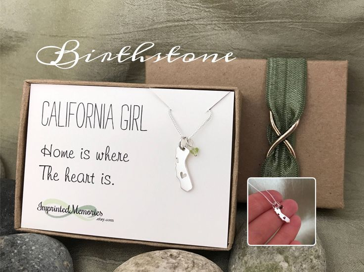 California Necklace - TINY BIRTHSTONE California Girl Necklace - CA Home is where the heart is California Jewelry Going Away Gift for her by ImprintedMemories on Etsy https://www.etsy.com/listing/267598011/california-necklace-tiny-birthstone