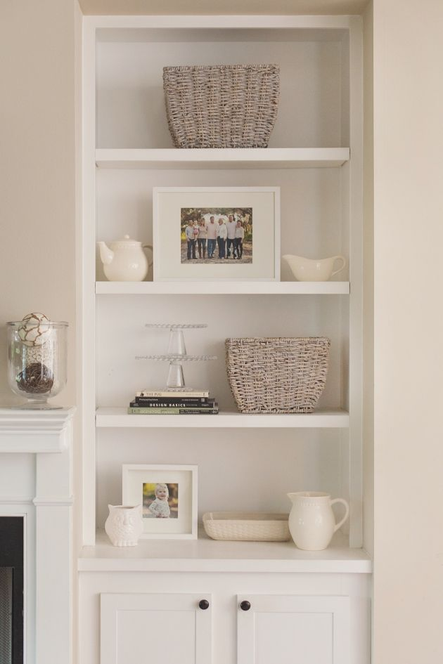 Accessorizing bookshelves in living room
