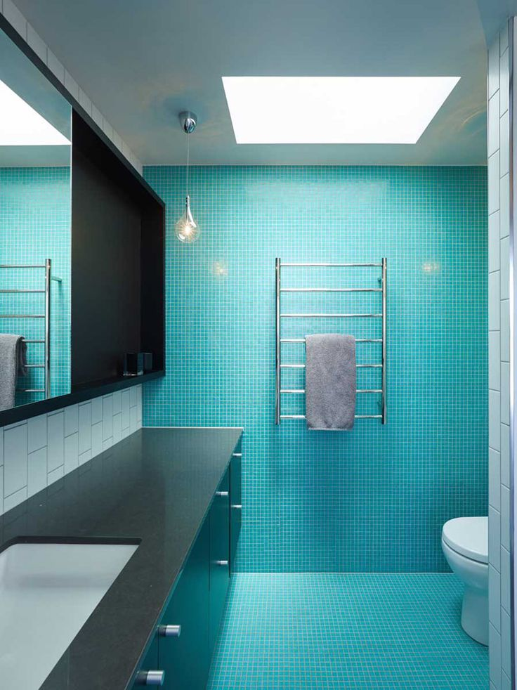 This bathroom in a home in brisbane australia by shaun lockyer architects bathrooms - Turquoise bathroom floor tiles ...
