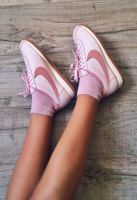 For a pretty update on an old-school classic, go for all-pink everything Nike Cortez. Match cutesy ribbed socks in the same pastel-pink and pair with a black pleated midi skirt and jersey sweat for a dreamy daytime look