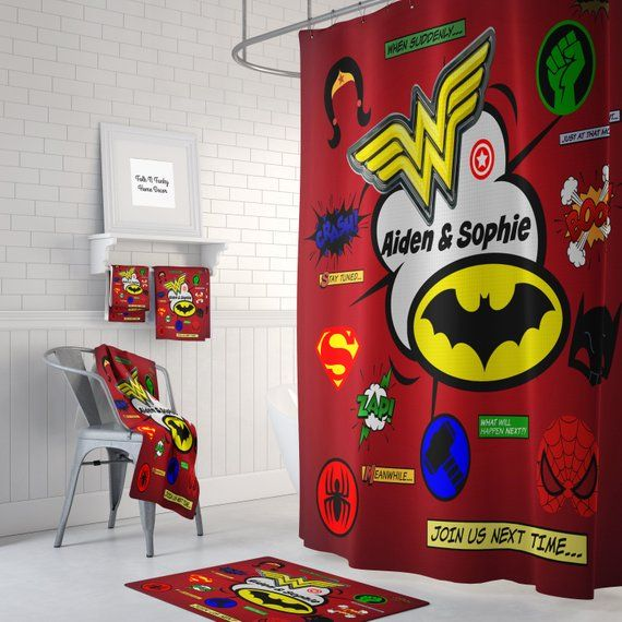 Bath And Hand Towels As Well As Bathmats Can Be Added From The Drop Down Selection Menu Live Your Life Book Shower Superhero Bathroom Superhero Bedroom