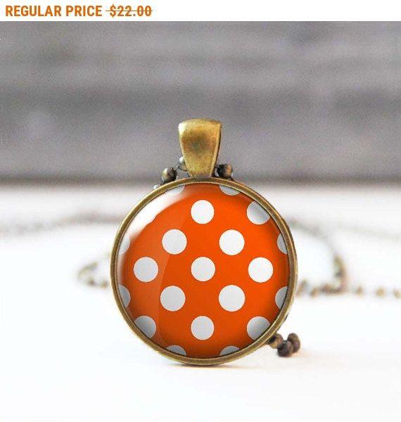 SALE Orange and white polka dot necklace Round photo necklace Glass dome necklace Rockabilly Jewelry for women Retro 50's necklac... by StudioDbronze