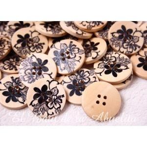 Botón de madera estampado floral negro 30mm